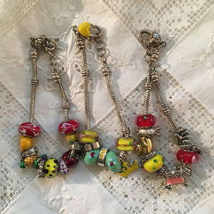 Jewelry - Colorful Tropical Lampwork Bead Slide Bracelet Lot